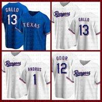 Texas Béisbol Jersey Rangers Personalizado 1 Elvis Andrus 13 Joey Gallo 34 Nolan Ryan 7 Ivan Rodriguez 4 Khris Davis 3 Leody Taveras Rougged Olor