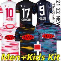 21/22 Rasen Ballsport Leipzig Camisas de futebol Forsberg 2021 Leipziges Soccer Jerseys Hee-chan Halstenberg Sabitzer Poulsen Sørloth Homens crianças kits Sock Full set camisa