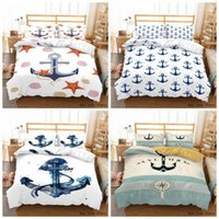 Bedding Sets Anchor Printed Set Cartoon White Duvet Cover Bedroom Decor + 1 2pc Pillow Case Twin Full Size Bedclothes Digital Bedline