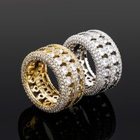 Hip Hop Rapper Rings Men Fashion Real Gold Plated Rings For Male Hiphop Silver Ring Bling Cubic Zirconia Stone Men's Ring Ice Out Jewelry