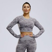 Yoga Outfits COLORVALUE Camouflage Seamless Shirt Long-sleeved Workout Tops For Women Quick Drying Top Fitness Back Hollow Gym Crop