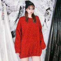 Женские свитера Lanmrem сплошной цвет пуловер свитер женщины 2021 Весенняя уличная одежда Свободная дикая тонкая была тонкой сгущает топы PC801