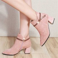 Autumn Winter Shoes Women High Heels Boots Warm Ankle Office Ladies Square Heel 6cm Black Pink A1855 211021