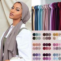 Шарфы мусульманский хиджаб шифон шарф женские шарфы шали и обертывания Headscarf Islam Folard de Femme Hijabs Soie Midne 5 шт. / Лот
