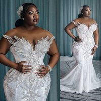 2021 African Arabic Charming Mermaid Wedding Dresses Illusion Full Lace Appliques Crystal Beading Cap Sleeves Chapel Train Formal Bridal Gowns Plus Size