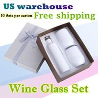 US-Lager Weißweingläser Sets 500ml / 17 Unzen Sublimation Cola-Tassen Edelstahl-Vakuum-isoliertes Becher 2pcs 12z-Eierbecher-Deckel-Tumbler-Geschenk-Box 10SETS / Karton
