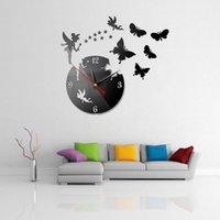 حار بيع diy 3d ساعة الحائط هندسية جدار الساعات مرآة الاكريليك كوارتز ساعات النجوم والفراشة ملصقات الديكور المنزل