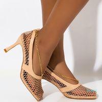 Summer Woman 7cm 9cm High Heels Sandals Mesh Low Heels Platform Pumps Lady Metal Chain Wedding Prom Sandles Shoes