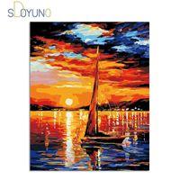 Sdoyuno DIY abstrakte Malerei nach Zahlen Kits Landschaft 60x75cm Malen nach Zahlen Kits Rahmen Wohnkultur Hand Malerei auf Leinwand