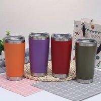 Customizável 20oz copos coloridos de café de aço inoxidável canecas grande capacidade dupla camada de esportes canecas de viagem com tampa T2I51693