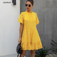 Black Dress Polka-dot Women Summer Sundresses Casual White Loose Fit Clothes Free People Yellow Womens Clothing Everyday 210302