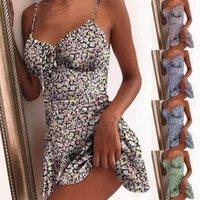 Повседневные платья сексуальные женщины цветочные платья летние печать цвет блока без рукавов дамы a-line высокая талия мини Sundress Vestidos # 35