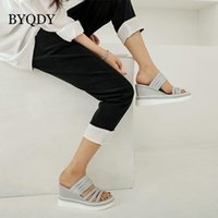 Dress Shoes BYQDY Rome Wedge High Heels Woman Sandals Platform Slip On Crystal Narrow Summer Female Silver Gold