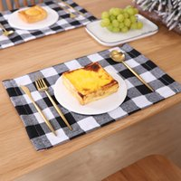 Plaid Placemat Christmas Decoration Red Black Plaid Table Cutlery 44*29cm Plate Place Mat Tablecloth Xmas Home Party Decoration DH8560