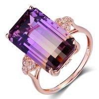 Wedding Rings Vintage Square Purple Big Crystal Engagement Ring Rainbow Stone for Women Fashing Boho Smycken