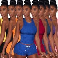Sommerkleidung XS 3XL Frauen Crop Tops Sweatsanliegen Sexy Weste Shorts Plus Size Trainingsanzüge Yoga 2 Stück Sets Tank Tops Capris Outfits 4539