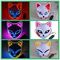 Demon Slayer's Blade Flash Masker Konijn Shino, Tanjiro LED Glowing Fox Masker Halloween Japanse stijl en folk dansfeest fluorescerend masker