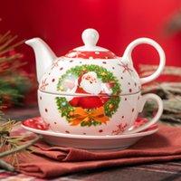 VeWEET SANTACLAUS Kerstpatroon porselein Persoonlijke koffie thee set voor één, met theepot theekopje en schotel kerstcadeau