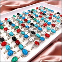 Jewelryfashion 30 Pcs Lot Patterned Turquoise Gem Pinestone Band Rings Bohemian Style Mixed Siery Lovers Women And Men Retro Wedding Jewelry