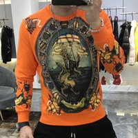 Men's T-Shirts Gold and luxurious black male shirt, stylish Baroque personality for fall, 4DJR