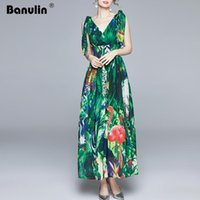 Vestidos Casuais Banulina Summer Runway Maxi Dress Mulheres V-Pescoço V-Neck Tie Strap Elastic Cintura Green Jungle Print Holiday Boho Chiffon Long