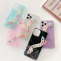 Glitter Cases for Iphone 12 mini 11 Pro X XS XR Max 8 7 Plus Phone Case Soft TPU Chain Back Cover 100pcs