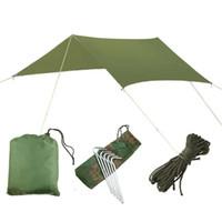 Tarp de acampamento resistente ao ar livre de acampamento impermeável Dobrável Tenda portátil Tarp Beach Shade Tarps com corda de vento e saco Dropshipping
