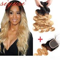 1B 27 Ombre Honey Closure Body Wave 인간의 머리카락을 가진 꿀 금발 3 4 묶음 폐쇄 브라질 버진 머리카락