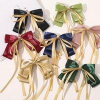 2021 Tvåskikt Bowknot Streamer Hairpin Kvinna Flickor Satin Ribbon Barrette Bow Back Head Spring Clip Headwear Hårtillbehör