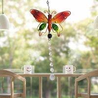 Objets décoratifs Figurines 20mm / 38mm Chakra à la main Chakra Butterfly Suncatcher Crystal Ball Boule Prisms Rainbow Maker Fenêtre Suspending Ornement Accueil