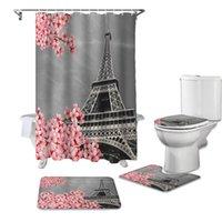 CHERRY BLOSSOM PARIS Torre Impermeable Cortina de baño Durable Cortinas de ducha Set Alfombras Aseo Tapa Tapa Cubierta de baño