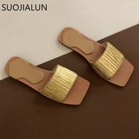 SUOJIALUN 2020 Design Women Slipper Fashion Golden Slides Pleated Outdoor Beach Flip Flops Flat Casual Open Toe Sandal g9kJ#