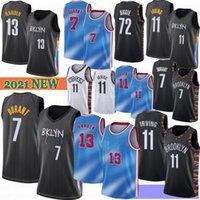 Kevin 7 Durant Erkekler Basketbol Jersey Kyrie 11 Erkek Irving 13 Harden Kolej Formaları Camisetas de Baloncesto 2021 S-XXL 72 Biggie Stok