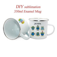 DIY Sublimation 350ml Emaille Becher Emaille Stahlbecher Emailled Becher Camping Kaffeetasse Ideal für Kaffee Tee Camping Tumblers FY4394