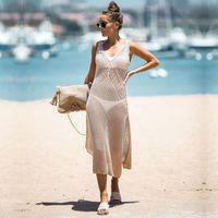 Женщины Купальники Обложка UPS Beachwear 2021 Новый Летний Хлопок Крючком Купальный костюм Beach Bikini Обложка Покрытие Купальник Обложка Солнцезащитный крем Длинное Платье