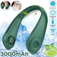 Electric Fans Mini Bladeless Fan Neck 5000mAh USB Rechargeable Mute Sports 3-speed Adjustable Portable For Outdoor Home Office Use
