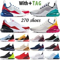 2021 Top Quality Cushion 270 OG Mens Running Shoes USA White Anthracite Platinum Jade Bred Hots Punch 27C Women Sneakers Trainers Size 36-45