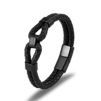 Men Jewelry Classic Black Braided Genuine Leather Bracelet for Men Stainless Steel Magnetic Clasp Punk Homme Bangles Gifts