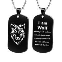 Gioielli in acciaio inox Wolf Wolf Wolf Men's Pendant Collana Collana a doppia faccia Lettering Cane militare