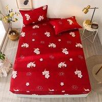 أوراق مجموعات تصميم الأزياء زهرة الصين حمراء غطاء السرير المنزلية ورقة جاهزة الملكة الملك كوين واحدة 120 * 200 * 30 150 * 200 * 30 180 * 200 * 30 4Size