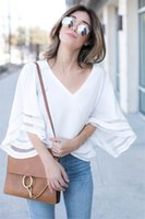Bell Sleeve Loose Tops Blouses Shirt V Neck blouse Top summer women shirts clothes will and sandy gift dff4021