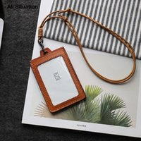 Card Holders Luxury ID Badge Set First Layer Cow Leather Top Quality Luggage Tag Identity Lanyard Retractable Neck Strap For Teacher
