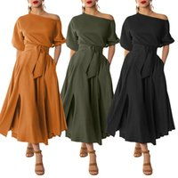 Talla grande Moda Vestido de fiesta sólido Sundress para mujer Sundress 2021 Zanzea Casual Long Wuff Sweeve Maxi Vestidos Mujer Cinturón Robe