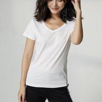 Color sólido Camiseta básica Mujeres Casual V-cuello Streetwear Tshirt blanco