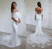 Romantic Boho Cold Shoulder Memaid Wedding Dress Lace with Sleeves 2022 Applique Tulle Backless Country Designer African Court Train Modest Bridal Gowns