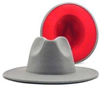 gray red Patchwork Wool Felt Jazz Fedora Women Unisex Wide Brim Party Trilby Cowboy Cap Men Gentle Wedding Hat XL