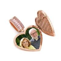 Dostosuj Memorial Photo Ramki Medal Naszyjnik Kształt serca Można Otwartych Mężczyźni Kobiety Kochanka Prezent Para Wisiorki 1270 B3