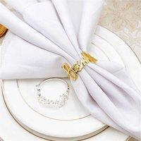6   PCS English letter Bismillah napkin ring el restaurant family tabletop ornaments spot 210607