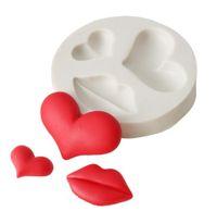Lip Heart Love Formas de Silicone Molde Sugarcraft Cookie Cupcake Chocolate Cozimento Molde Fondant Bolo Decoração Ferramentas