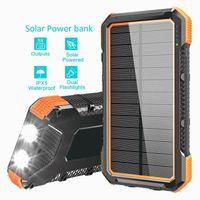 المحمولة الفوانيس التخييم مصباح الشمسية شاحن الطاقة المحمول 4U الإخراج البوصلة شحن سريع 26800 مللي أميال